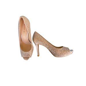 AUDREY BROOKE Open Toe Glitter Heels 8